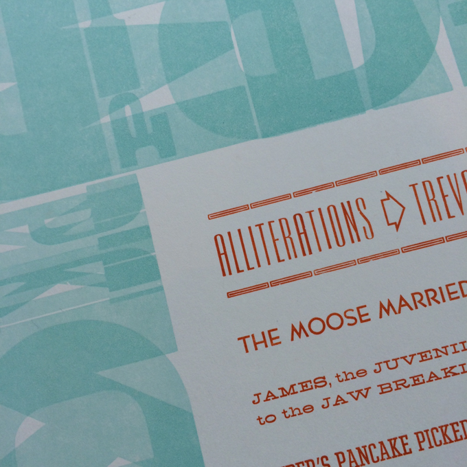 Finished letterpress broadside closeup