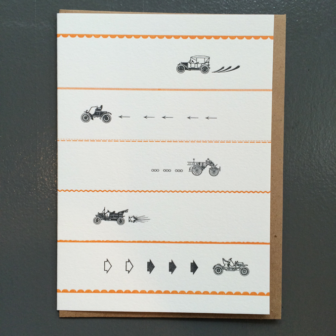 Letterpress card with little cars and ornaments