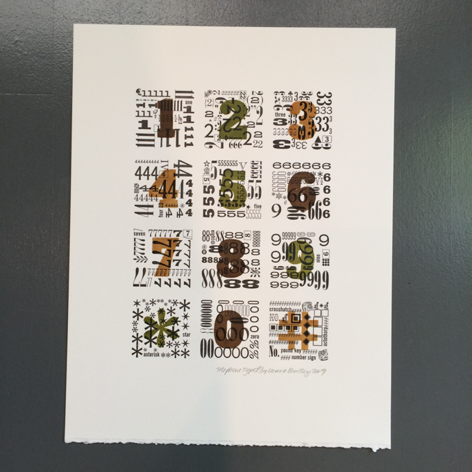Letterpress print with numbers in many fonts.