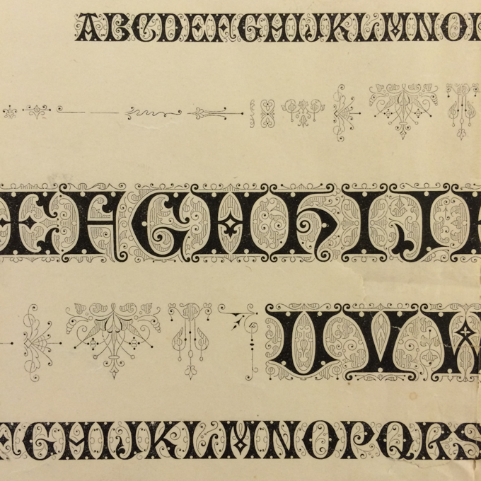Filigree Type Specimen designed by Herman Ihlenburg from Cary Collection