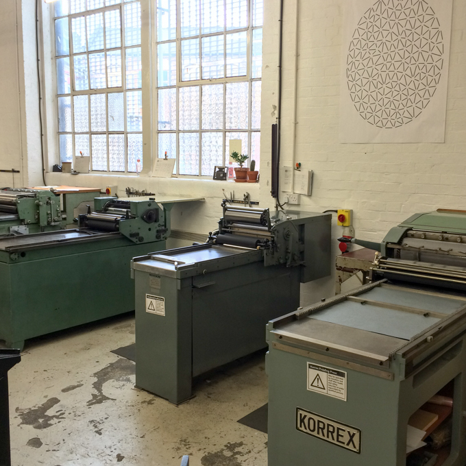 Printing presses at London Centre for Book Arts