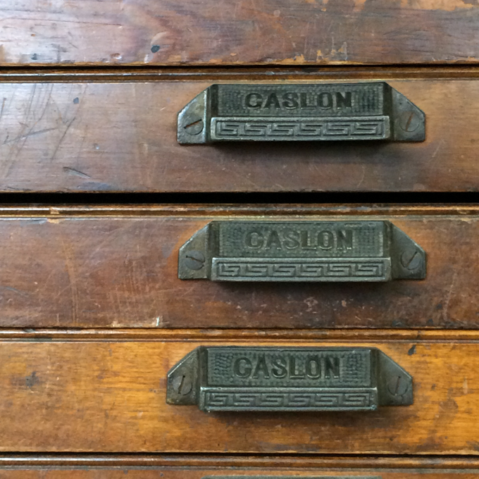Caslon type case handles