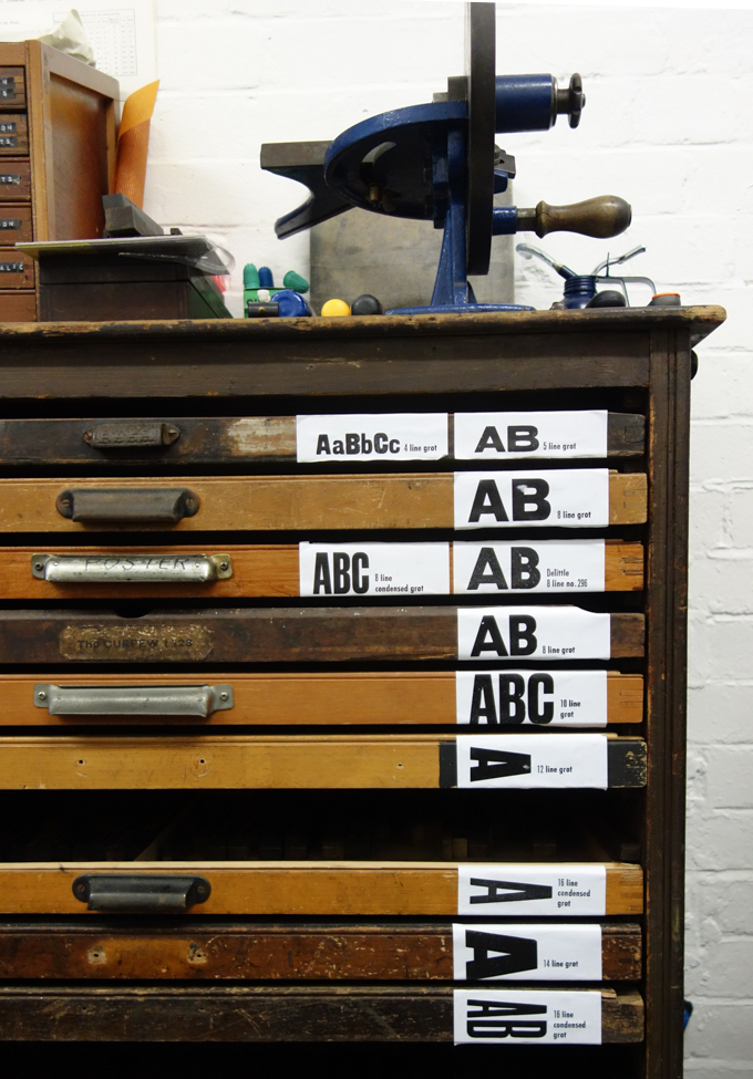 Wood type cabinet at The Counter Press letterpress studio