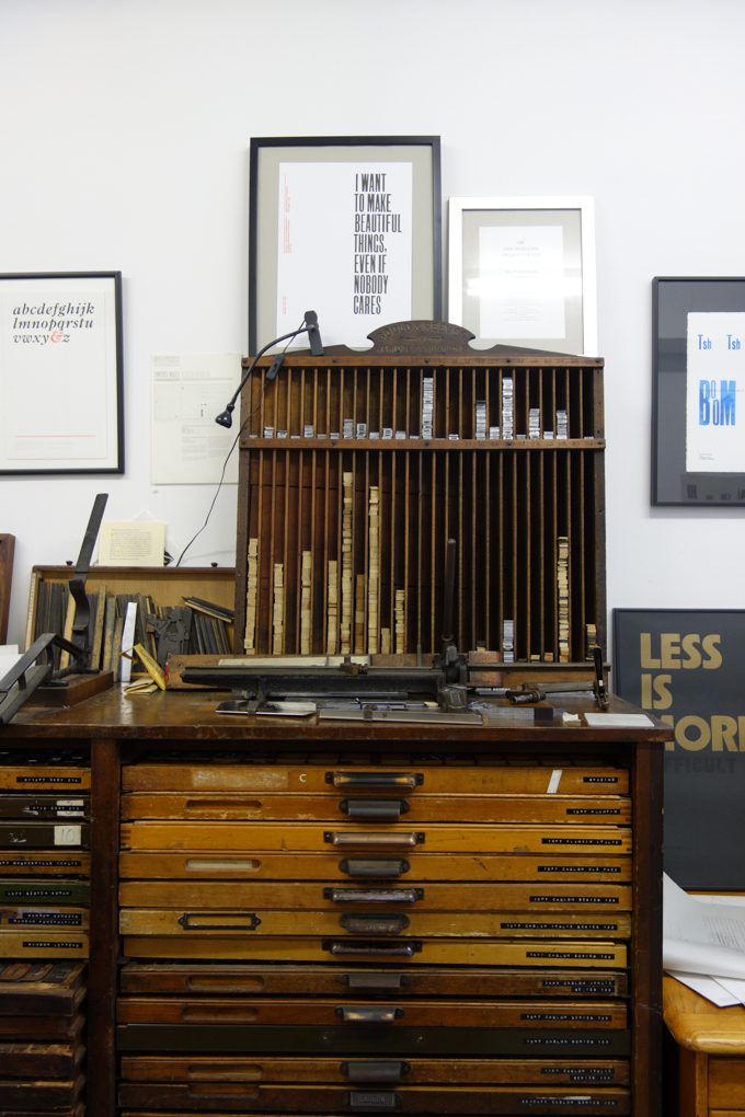 Printing equipment at The Counter Press letterpress studio