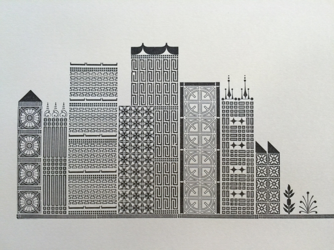 Letterpress print of city made with border type