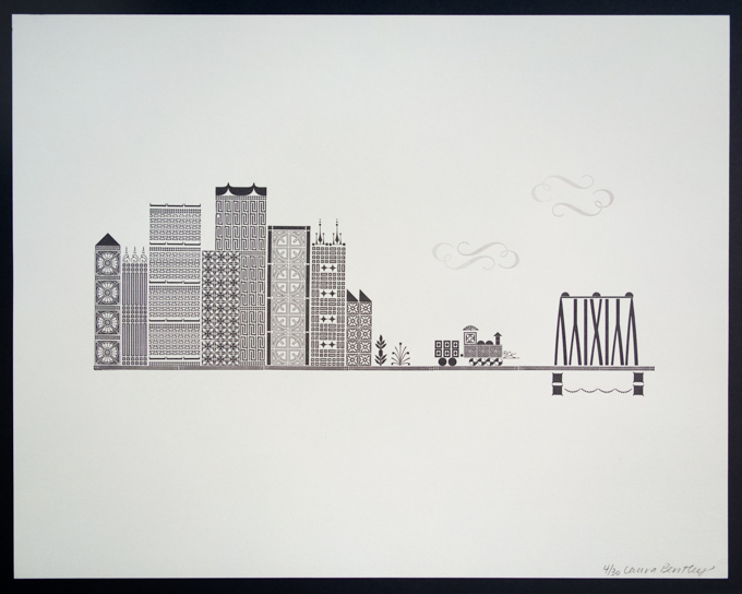 Letterpress print of city and train