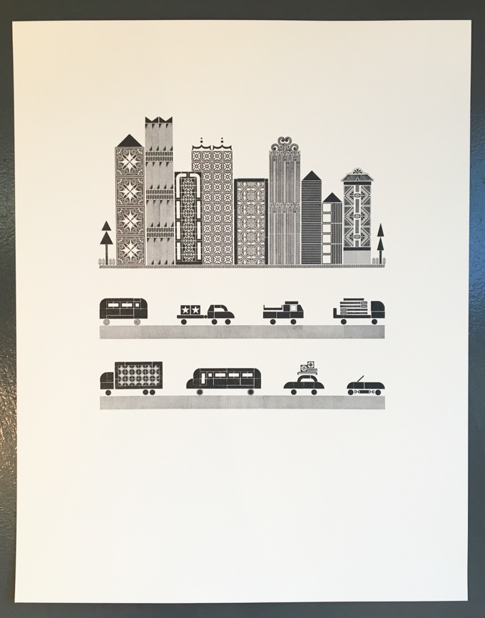 Work in progress: Letterpress print of city and two rows of traffic