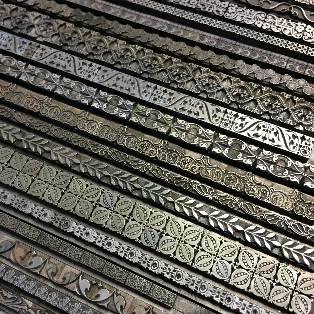 Metal type borders for letterpress printing