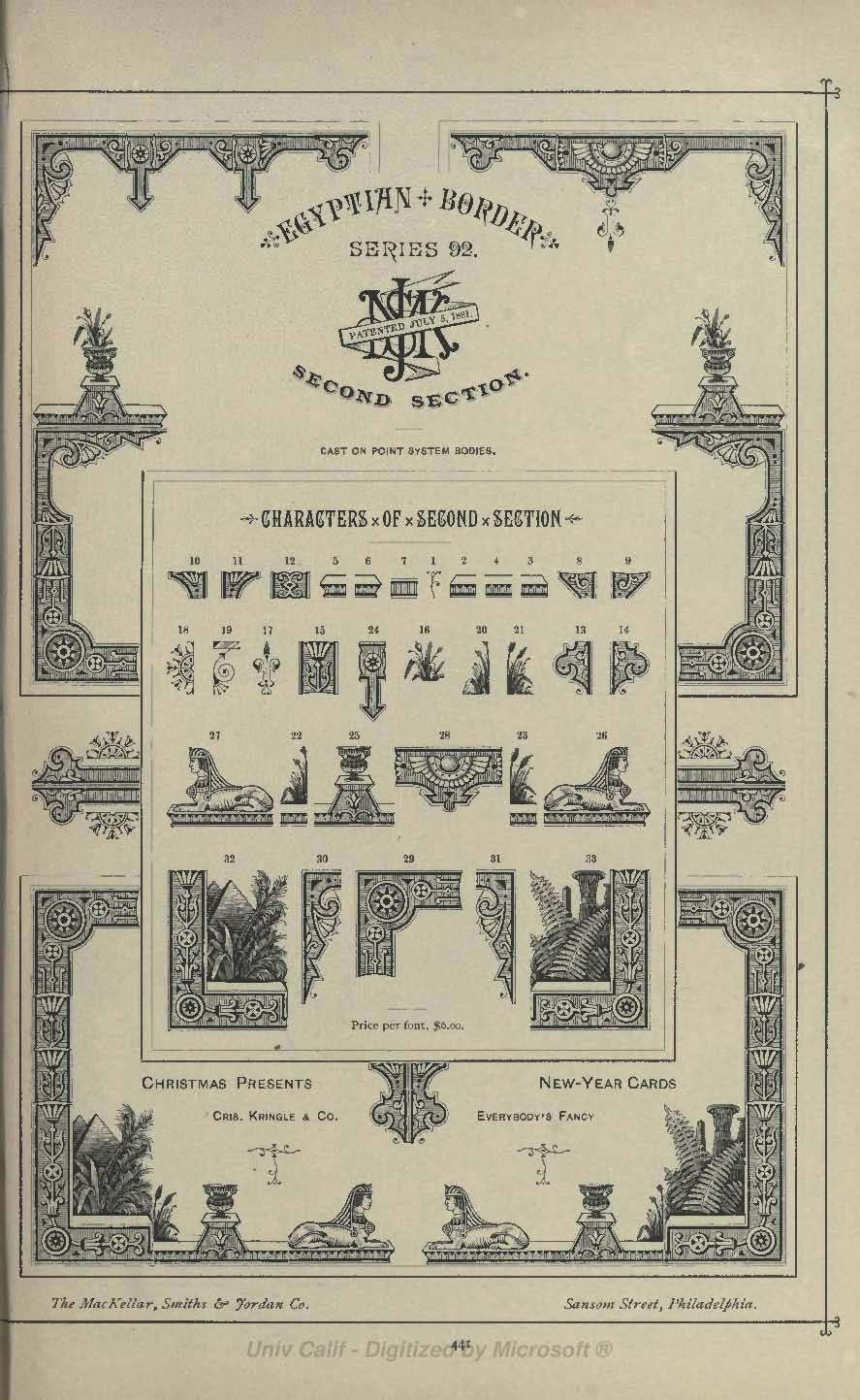 Egyptian Border Second Section from MacKellar Smiths and Jordan 1892 type catalog