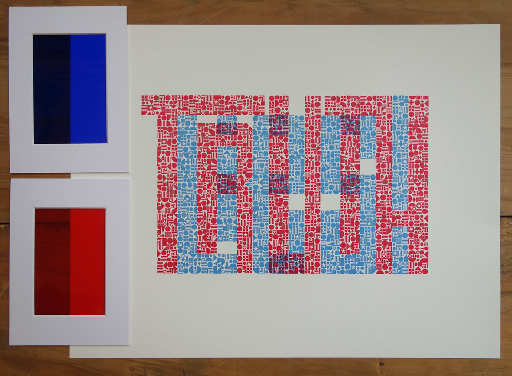 "Letterpress print in red and blue ink spelling ""Truth"" and ""Lies!"""