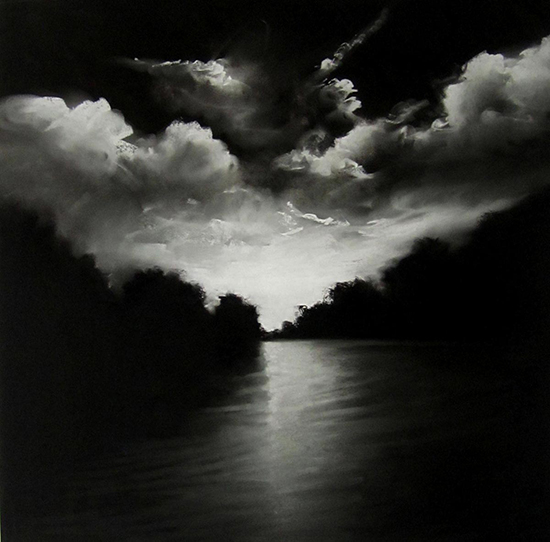 "Evening Reflection III (Pastel on paper, 30"" x 30"")"