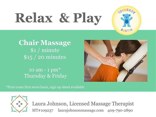 Want to care for yourself AND let your kids play?💆🏻‍♀️Come in to the @toybraryaustin Thursdays and Fridays 10 am til 1 pm for chair massage and $7 Stay & Play! 🙌🏻✨#toybrary #chairmassage #austin #atx #massagetherapy #selfcare #stayandplay