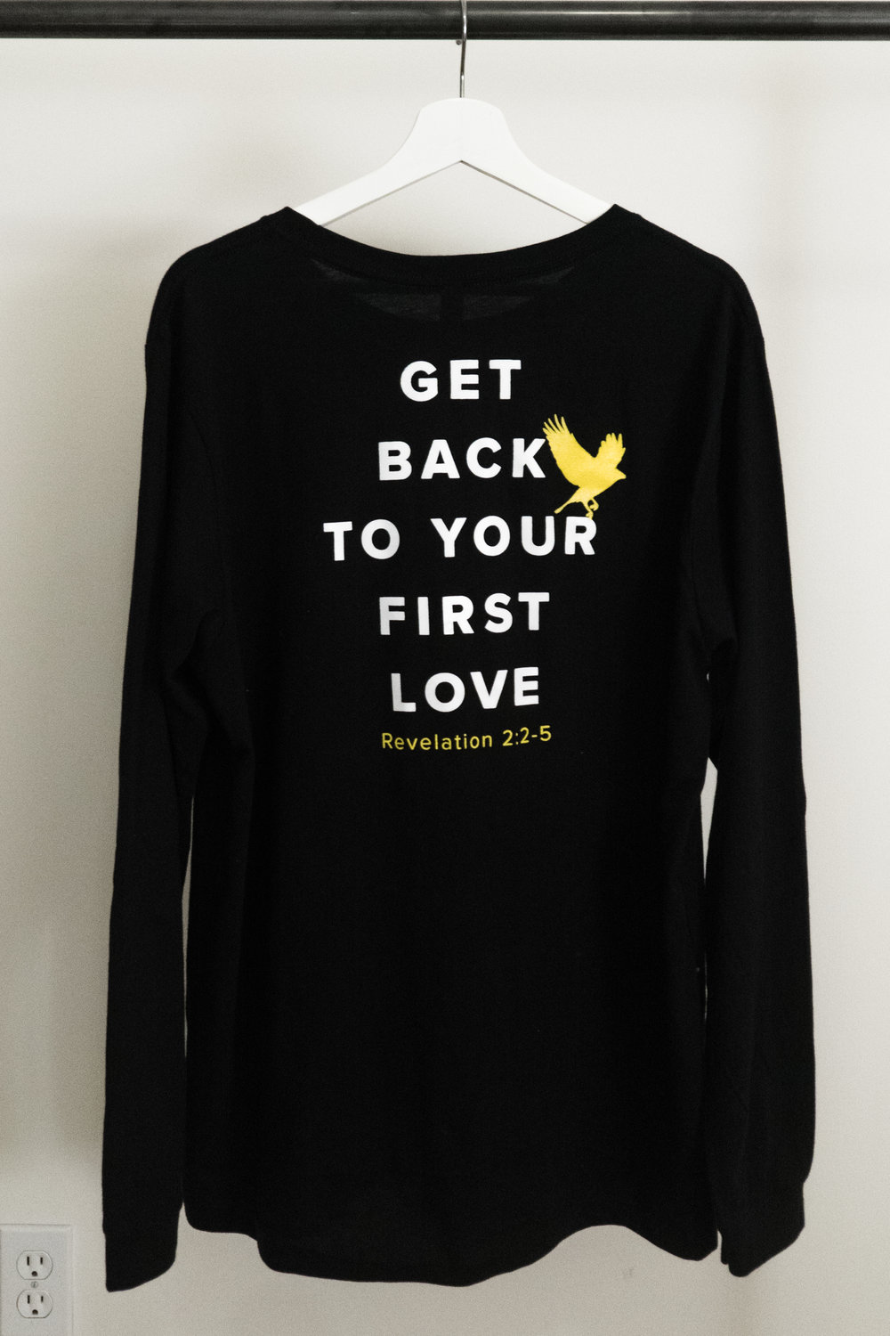 GET BACK TO YOUR FIRST LOVE // BLACK LONG SLEEVE LISTEN. We all do it. We get distracted and side tracked and we lose sight of our God-Given purpose! But this shirt will remind you and everyone you come in contact with to realign your sight to Him and refocus your attention BACK TO YOUR FIRST LOVE.