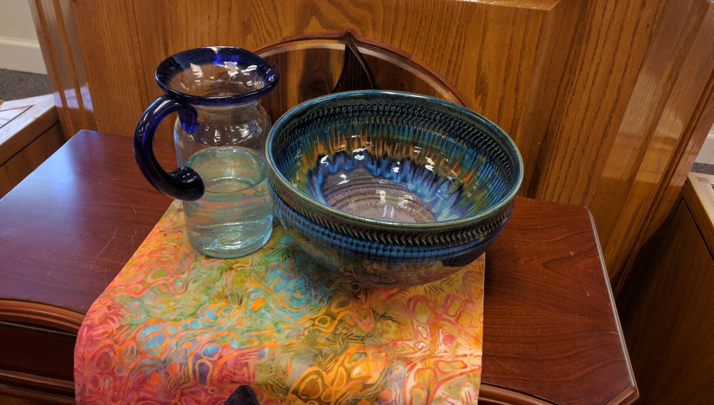 Our water communion bowl and pitcher.