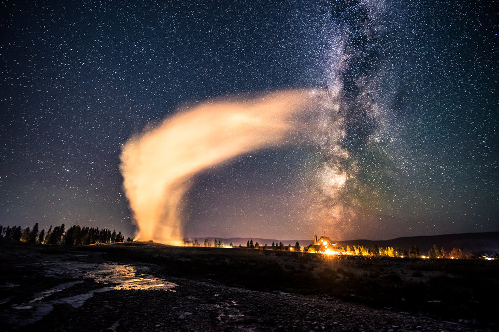 Old Faithful Breathing Life into the Milky Way - An indescribable experience under the night sky at one of America's most beautiful natural landmarks.
