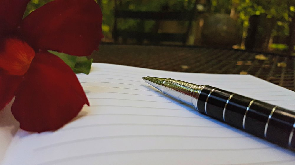 Blank-page-pen-red-flower