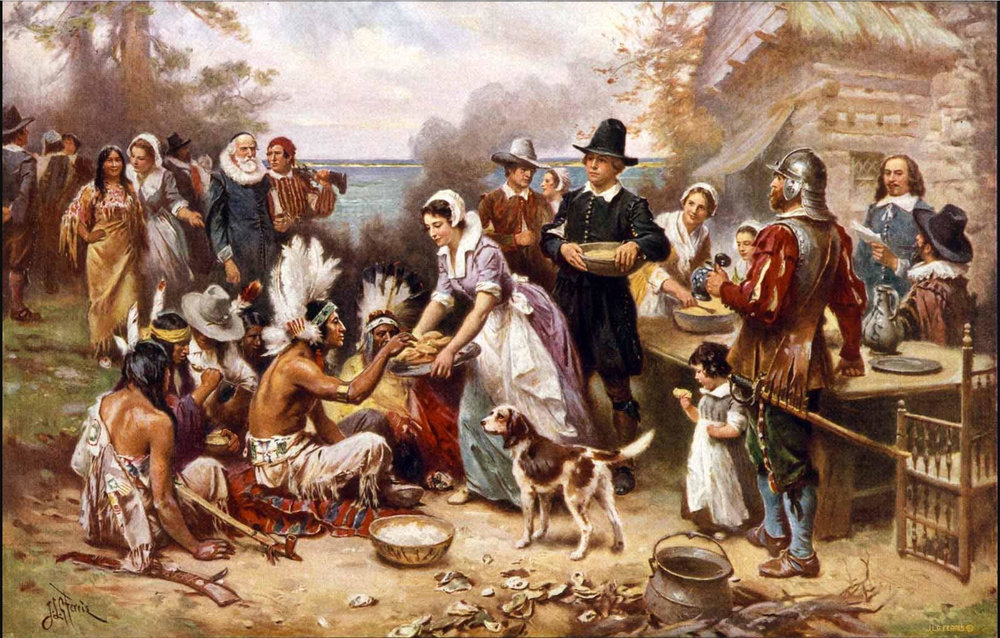 """The first Thanksgiving"" (1915) by Jean Louis Gerome Ferris. American painter (1863-1930)."