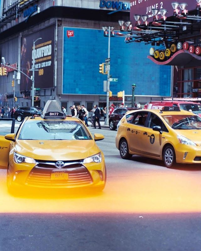 Real cars on film | 35mm | Leica RS4 with Angenieux 28-70mm | NYC . . . . . #film #filmphotography #35mm #nyc #manhattan #timessquare #yellow #yellowcab #bushwickresident #jacobqberry #ccopypastaa #portabledvdplayer #theanalogueproject #theanalougeclub #leica #bushwickdarkroom #lightleak #taxi #taxicab #cars #car #toyota