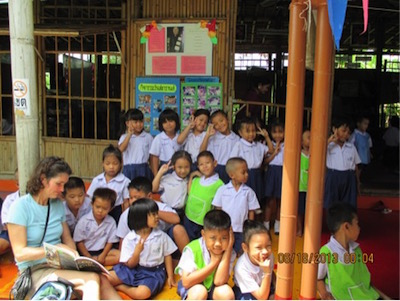 "Visiting the ""bamboo school"" (Bangkok, Thailand, 2013) which I wrote about in    Off to Class: Incredible and Unusual Schools around the World    (Owlkids)"
