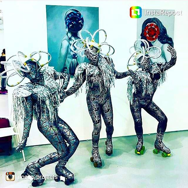 Thank you @rincon_projects for sharing this shot of our performance with @tmsisters & @sleeperspeaks ... Seen here are @electricnatasha @tallygator305 & @franister at the@untitled art fair . .. #miami #miamiskaters #performanceart #noise #moxieskates #rollerskating #QuadSkate