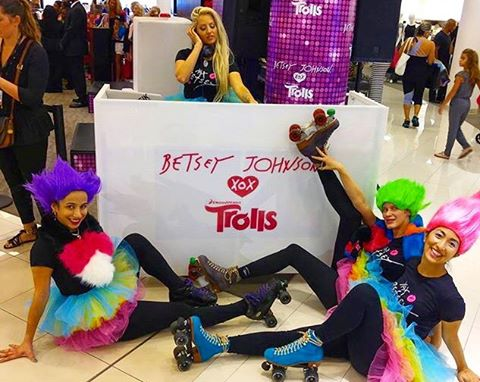 Today was so fun hyping up the crowd #rollerskating as #trolls for @xobetseyjohnson for the amazing event at @macys photographed by @monicatronica today!