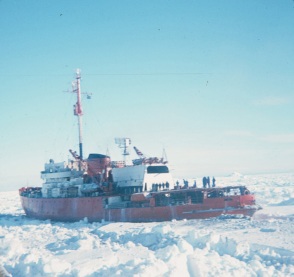Argentinian icebreaker General San Martin, 1970, trapped in the Weddell sea ice pack, prior to its rescue by the USCGC Glacier