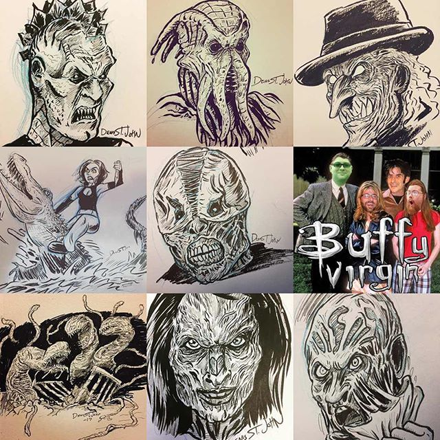 I did a #bestnine2017 only 11 days too late, lit of monsters! . . #buffyart #buffyvirgin #monsterart #buffydemons #buffyseason3 #monstersofbuffy #btvs #horrorart #horrorartist #denisstjohn