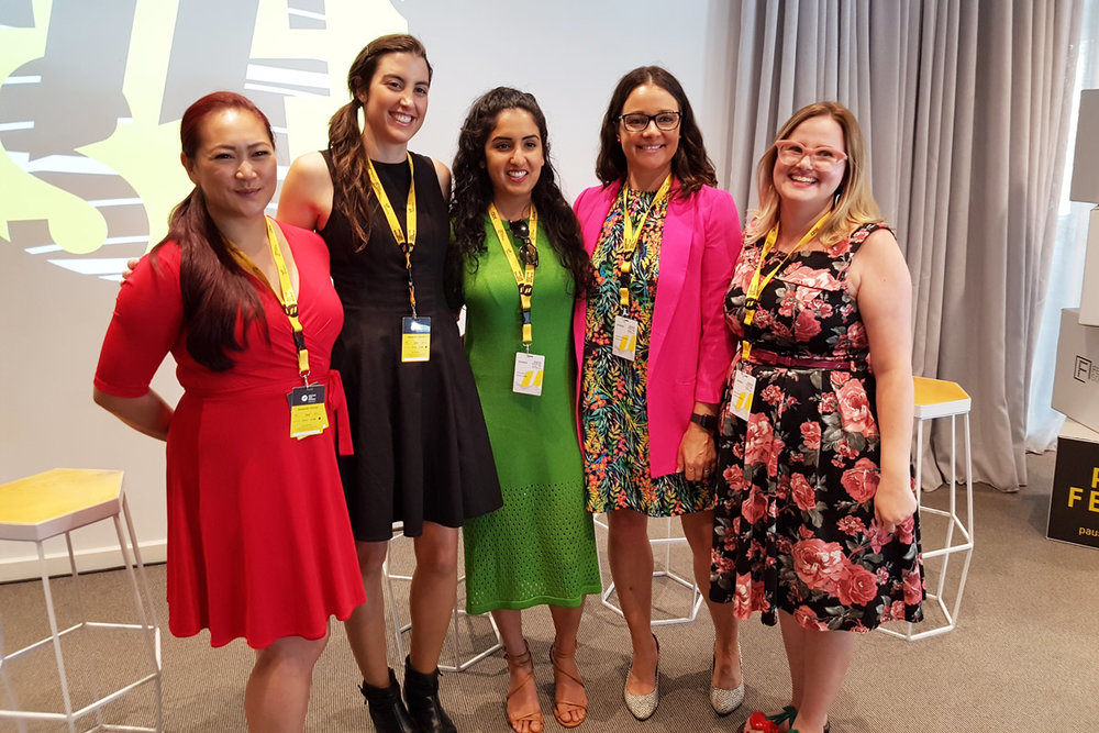 L to R: Jeanette Cheah (The Hacker Exchange), MC Michelle Mannering, Daizy Mann (Deakin Spark), Madeleine Grummet (girledworld) and Sarah Moran (Girl Geek Academy) at the Pause Fest Innovation in Education Panel.