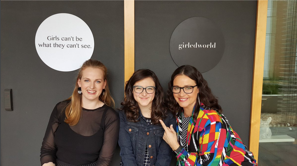 girledworld Founders Edwina Kolomanski and Madeleine Grummet (with 16-year-old Luv Ur Skin entrepreneur Izzy Dymalovski)