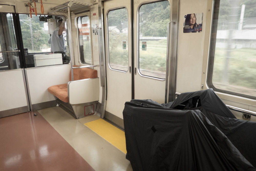 Two bikes on the Chou Line in central Japan.