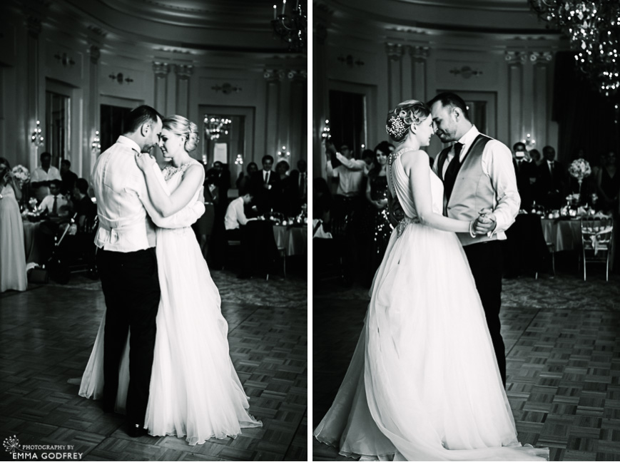 Black and white wedding first dance