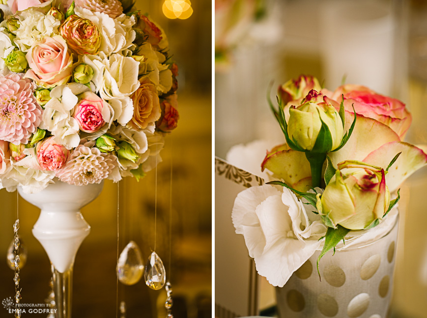 Wedding table florals in white, peach and pink with Swarovski crystals