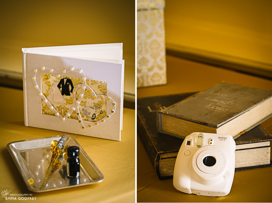 Guest book and instax camera at wedding
