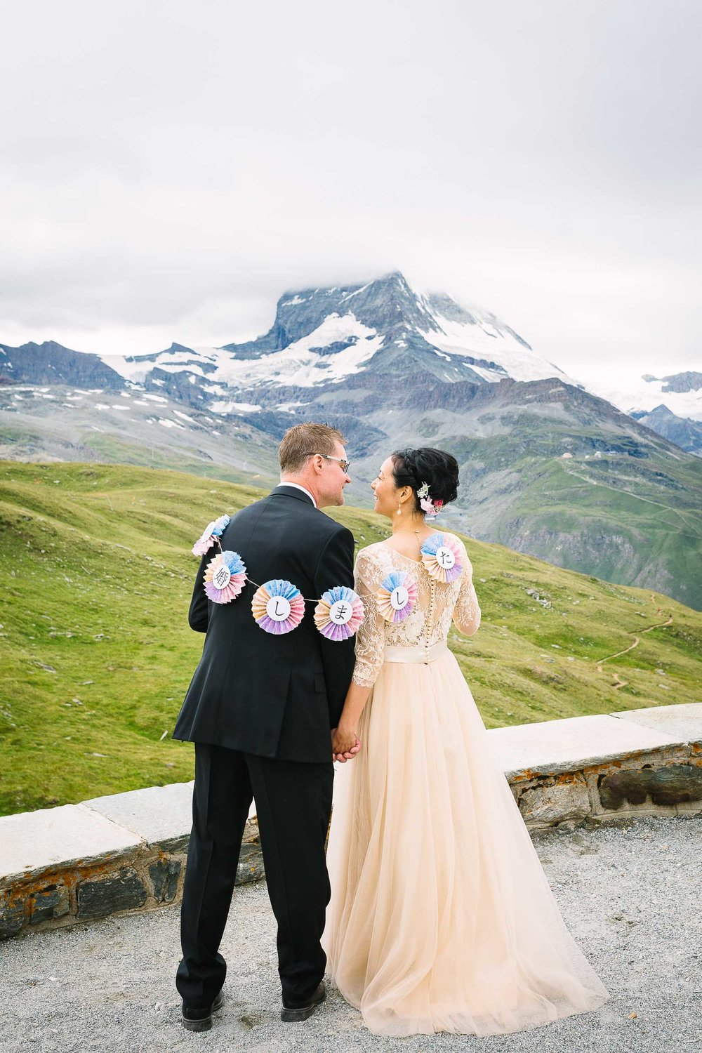 A summer wedding in Zermatt where two families from Japan and the USA met to celebrate.