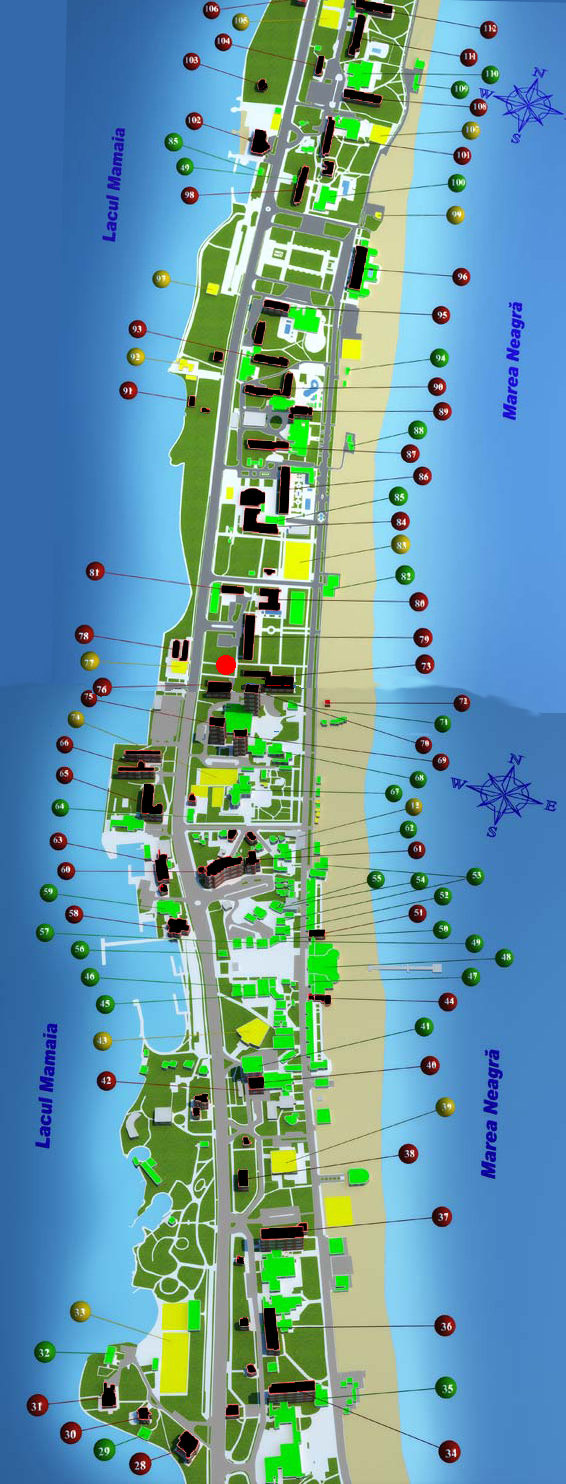 Target hotels shows as a red dot (  B-dul. Mamaia, nr. 430C; for more details visit link on  GOOGLE MAPS