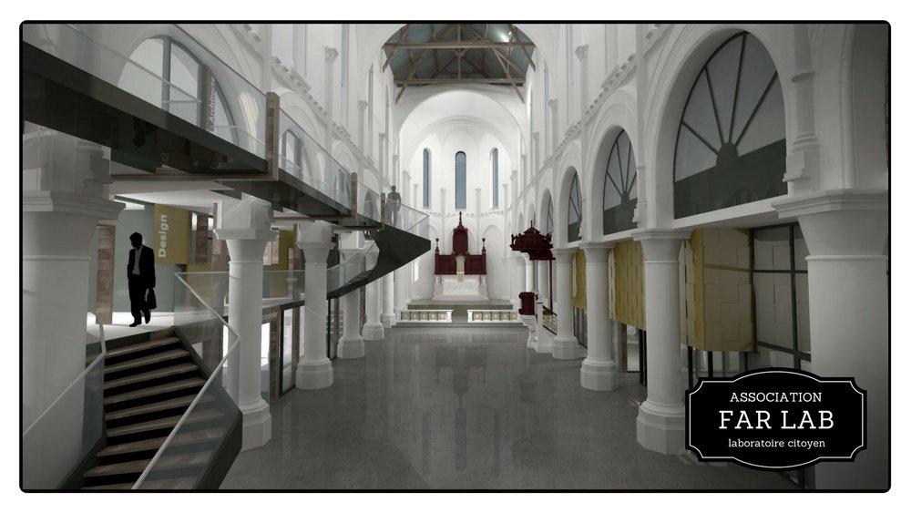 Vue de l'intérieur de l'ancienne église Saint Louis, le projet éprouvette du FARLAB