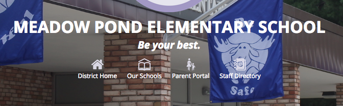 Shared navigation links make it easy to move between district and school sites and access the Parent Portal and Staff Directory.