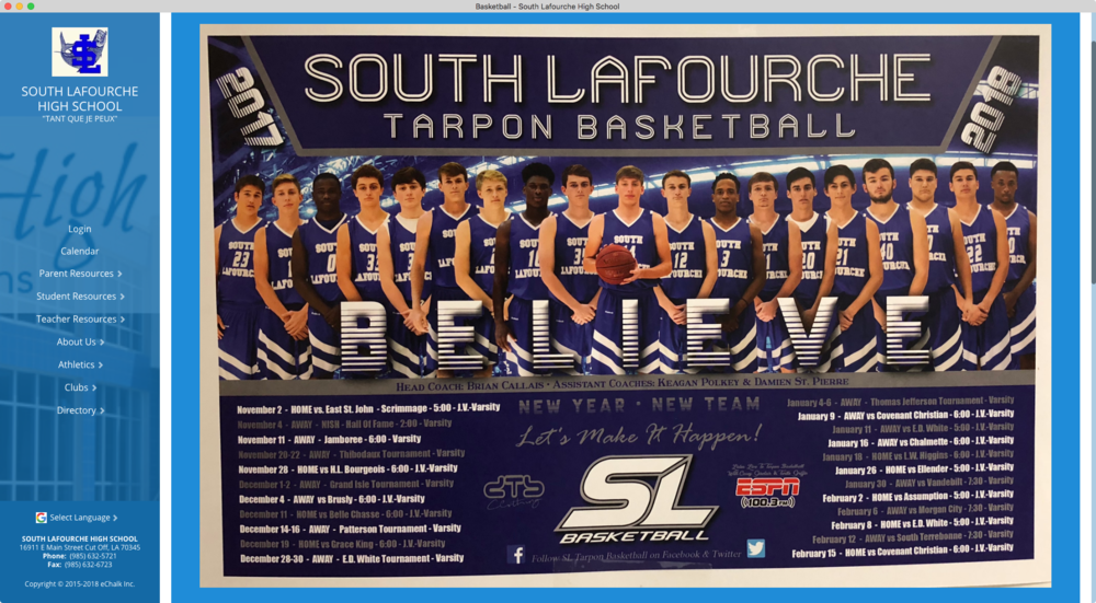 South Lafourche High School Basketball Team Webpage