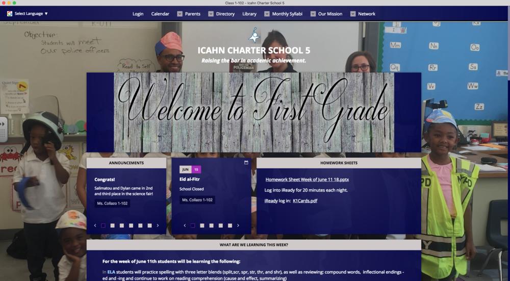 Icahn Charter School First Grade Class Webpage