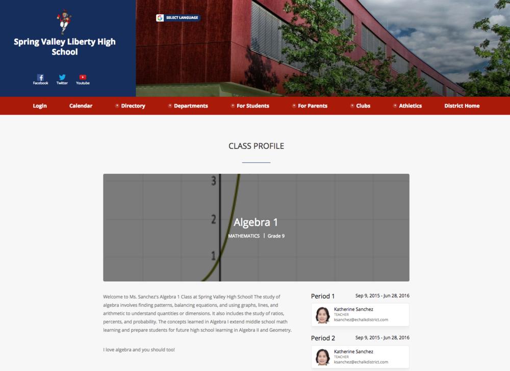 Algebra Class Profile Page