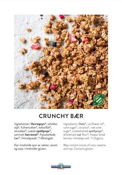 Produktkort - Med bilde av produktene og markering av økologiske ingredienser og allergener.Brettes og settes på serveringsbordet eller festes på serveringsskålene.
