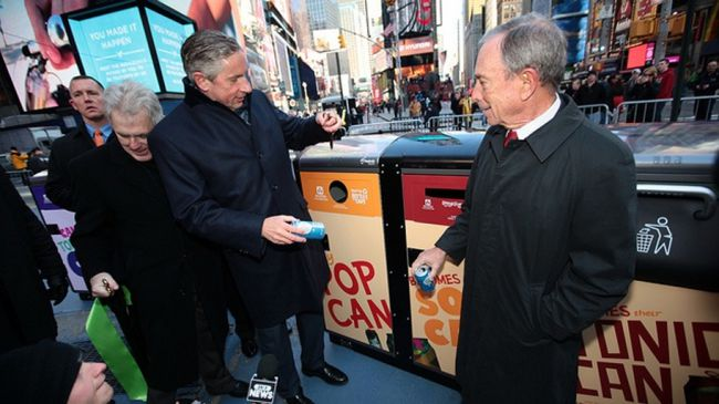 Solar-powered smart bins in Times Square, New York.