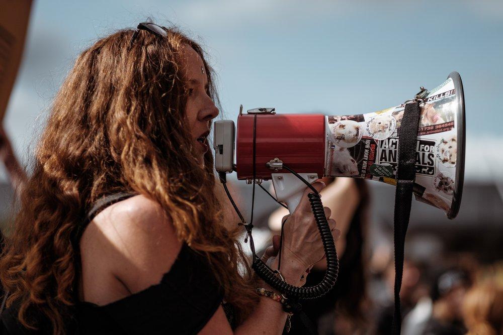 Surge protester at the Versace Spring/Summer 2018 show at London Fashion Week.