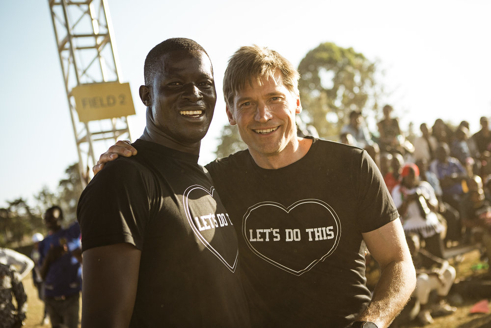 Ugandan Nobel Peace prize nominee Victor Ochen Actor and UNDP Goodwill ambassador Nikolaj Coster-Waldau