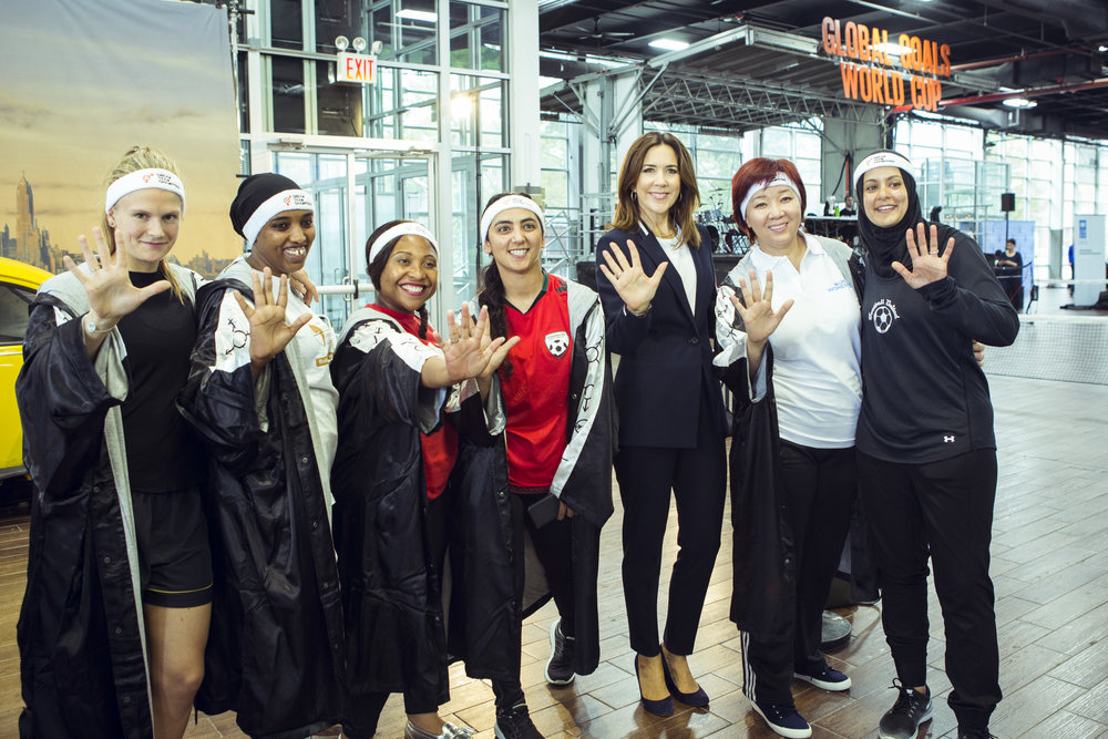 The SDG5 Dream Team (minus Muzoon Al-Mellehan). Left to right: Emma Holten, Denmark. Fatuma Adan, Kenya. Tshidi Likate, South Africa. Khalida Popal, Afghanistan. HRH Crown Princess Mary of Denmark, Dina Smailova, Kazakstan. Assmaa Helal Australia.