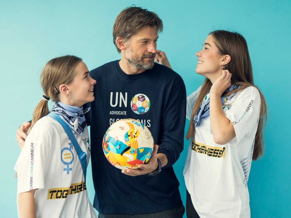 """I've brought along my daughters this year so they can see all these remarkable women; scientists, activists, chief executives and policy-makers, all playing soccer,"" Coster-Waldau said. ""Sports unite people around the world, and can unite people to achieve the SDGs as well."" Pic from GGWCup Finals New York 2018"