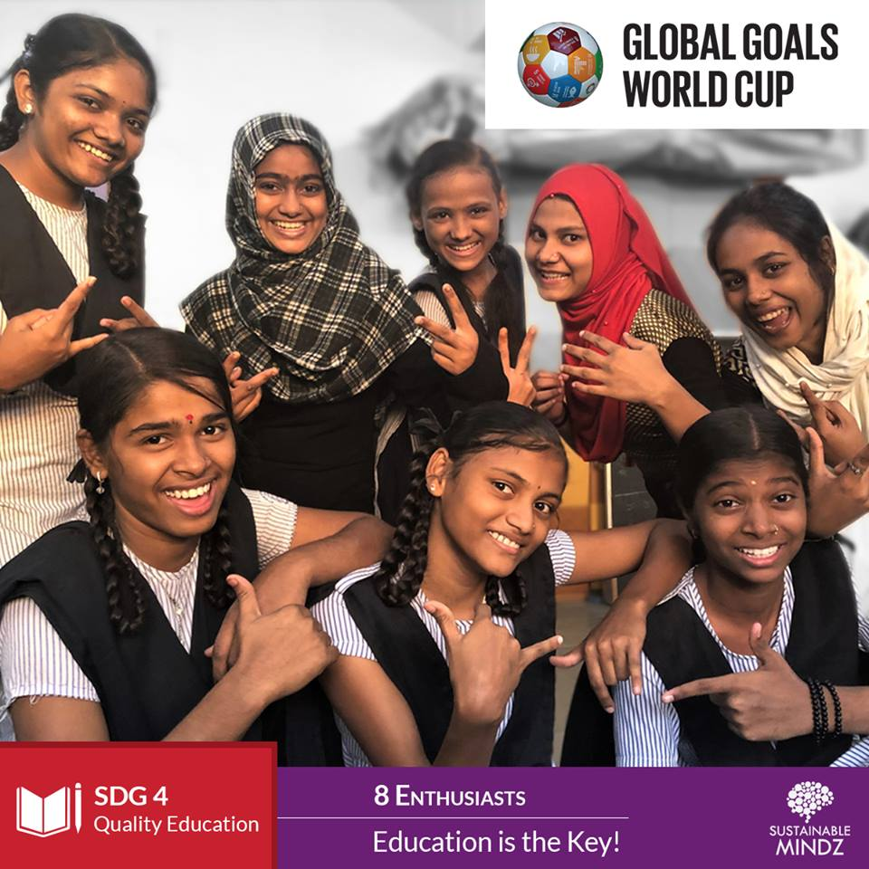 8 Enthusiasts'  Save the Children India  main aim and team motto is 'Education is the Key! Let's welcome them & wish them the best of luck for the Global Goals World Cup.