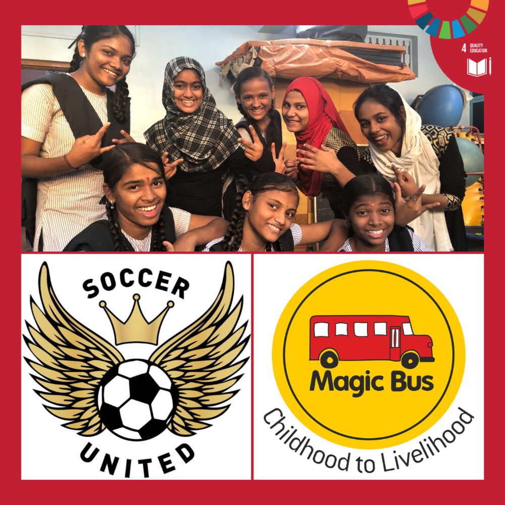 Team  Magic Bus Star  and team  Soccer United  are both playing for Global Goal 4. Magic Bus works with India's poorest communities and children using an award-winning activity-based curriculum culminating in a Livelihoods programme. The keywords are gender equity, education and life skills and builds up towards future that is productive and dignified.