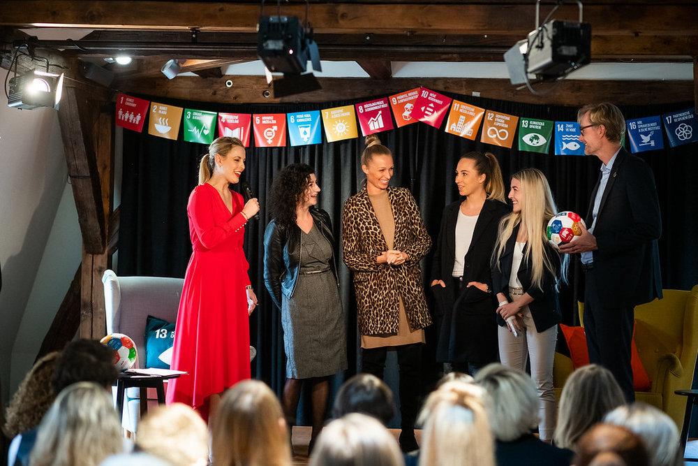 Photo of Tereza and Veronika with Ole Frijs-Madsen, ambassador of Embassy of Denmark in Czechia and Lucie Madlova, founder and director of Association of Social Responsibility and Veronika Kasakova, Fabiana Bytiyqi and Bara Votikova.