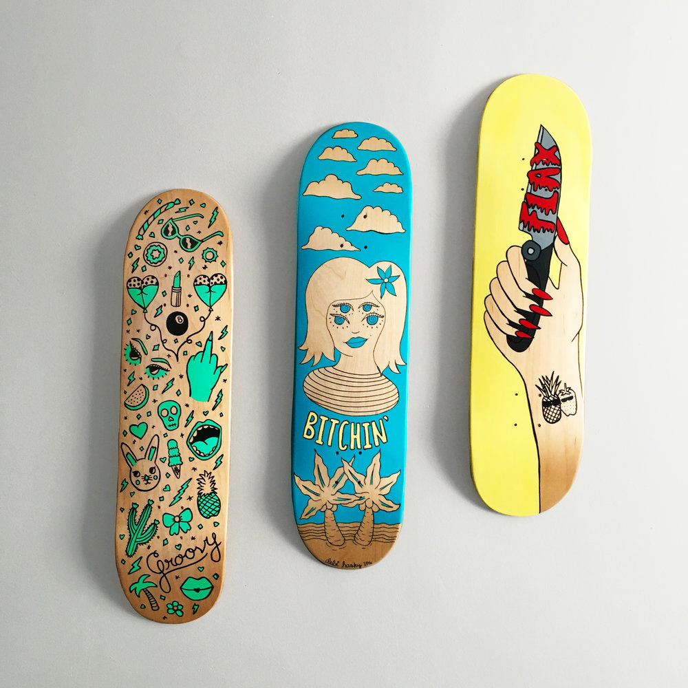 All About FLAX, Triptych Skateboard Commission